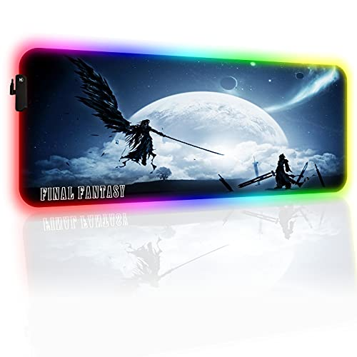 RGB Gaming Mouse Pad,Final Fantasy Anime Extended Large MousePads, Glowing Mouse mat with Stitched Edge Frame & Non-Slip Rubber Base for Office & Gamer-15.8 x 29.5in