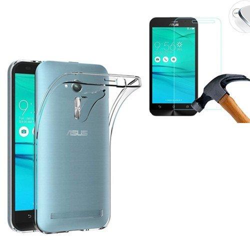HQ-CLOUD® Coque gel arrière en silicone transparent pour ASUS Zenfone GO ZB500KL + 1 film de protection d'écran en verre trempé