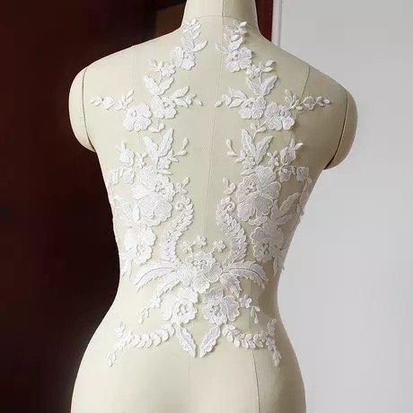 3D-Blumenapplikation mit Pailletten, Spitze, zum Nähen, Brautschmuck, Hochzeit, elfenbeinfarben, 2078