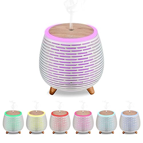 CkeyiN Humidificador Ultrasònico Mini Difusor 90ML Ambientador Aromaterapia Silencioso Apagado Automtico Luces LED 7 Colores...