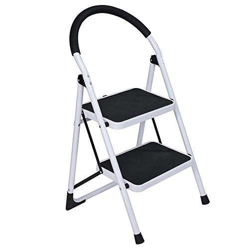 2 Step Ladder Folding Step Stool Heavy Duty Ladders with Handrail,2 Step Stool Non-Slip Rubber Feet and Wide Pedal, Portable Step Stool Steel 300lbs (White)