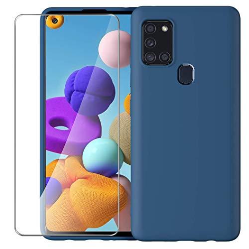 ARRYNN Funda Samsung Galaxy A21s con Cristal Templado Protector de Pantalla,Azul Ultra Slim Protectora Funda de Silicona Líquida Suave Case Cover para Samsung Galaxy A21s - Azul