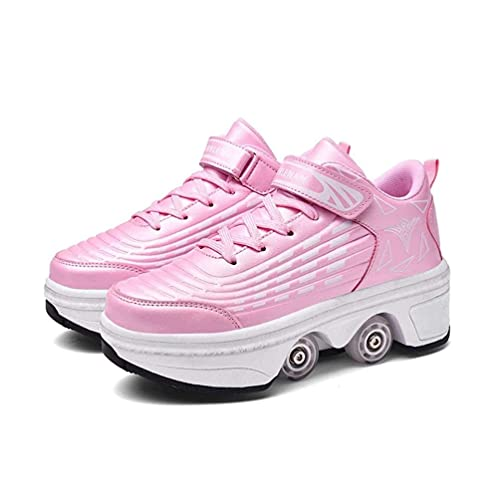 Mrzyzy Scarpe con Deformazione Multifunzionale Quad Skate Pattini a Rotelle Pattinaggio Calzature Sportive da Esterno per Adulti Invisibili, 2in1 Scarpe Multiuso Scarpe con Ruote Scarpe da Skateboard