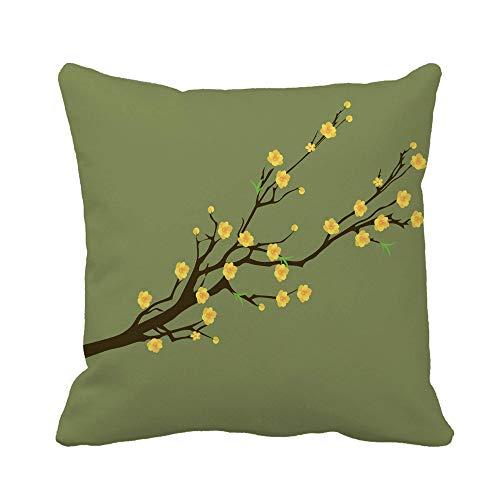N\A Funda de Almohada Verde Amarillo Flor de Albaricoque Tradicional año Nuevo Lunar Funda de Almohada Decorativa para el hogar Funda de Almohada Cuadrada Funda de cojín