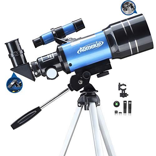 Aomekie Telescopio Astronomico 70mm para Niños Principiante Refractor Telescopios con Trípode Adaptador para Teléfono Ffiltro Lunar para observación de Estrellas y observación de