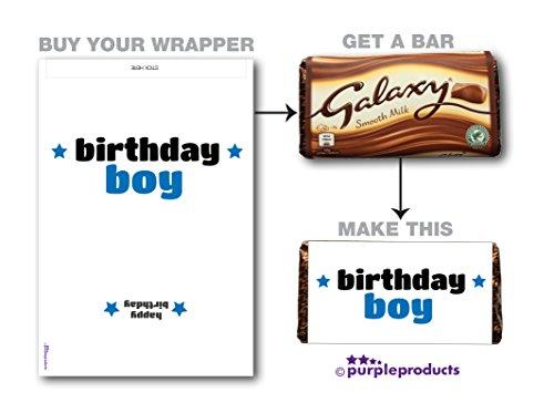Paarse producten Verjaardag Jongen Galaxy Chocolade WRAPPER Verjaardagscadeau. Alleen wikkelaar. Lees de beschrijving.