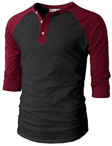 H2H Mens Casual Slim Fit Raglan 3/4 Sleeve Henley T-Shirts BLACKWINE US S/Asia M (CMTTS0174)