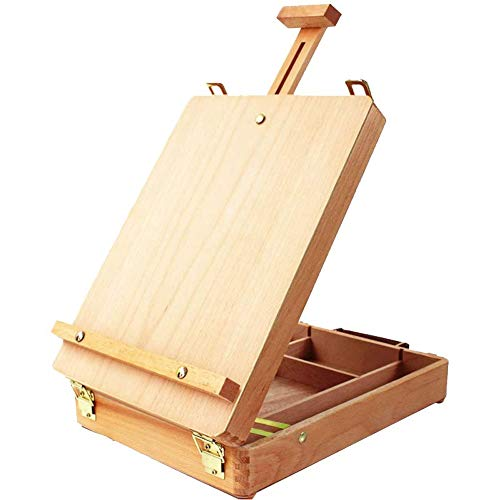 Miratuso Table Top Easel, Premium Beechwood Sketchbox Easel, Portable Wooden Artist Desktop Storage Case, Comfortable and Portable to Carry