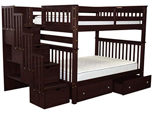 Bedz King Stairway Bunk Beds Full over Full with 4 Drawers in the Steps and 2 Under Bed Drawers, Cappuccino