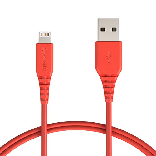 AmazonBasics Lightning to USB A Cable, MFi Certified iPhone Charger, Red, 3 Foot