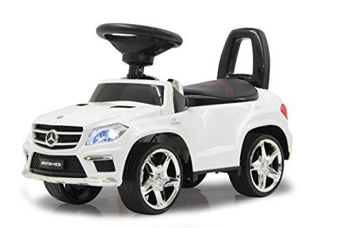 Jamara 460241 - Rutscher Mercedes GL63AMG weiß – Kippschutz, Kunstledersitz mit roten Ziernähten, Kofferraum unter der Sitzfläche, Rückenlehne, Scheinwerfer vorne / hinten, Motorsound, Hupe, Musik