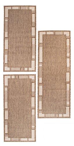 andiamo Louisville Webteppich Bettvorleger Bordüre Teppichläufer Läuferset Brücke 1x67x180-2x67x140 Bettumrandung, Polypropylen, braun/beige, 2x67x140 + 180x67x1