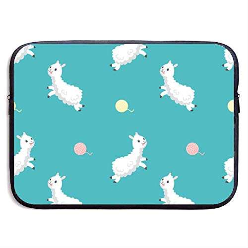 Laptop Sleeve Case Protective Padded Zipper Cover Cute Alpaca with Wool Ball,Water-Resistant Neoprene Notebook Computer Pocket Tablet Briefcase Carrying Bag/Pouch Skin Cover