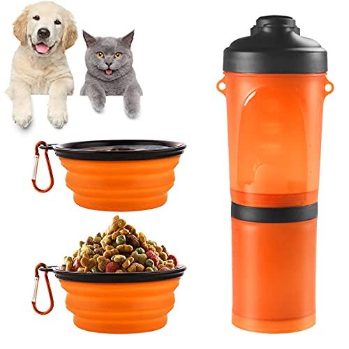 Barrageon Botella de Agua para Perros 2 en 1 Envase de Comida para Mascotas con 2 Plegable Tazones Portatil Bebedero Dispensador al Aire Libre Caminar Viajar Camping (Naranja)