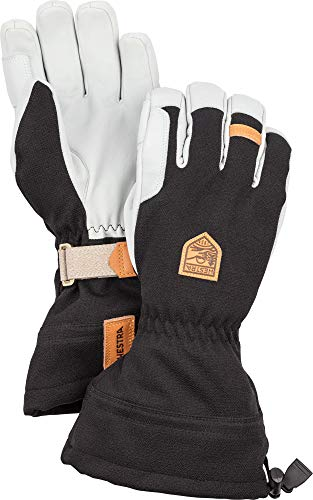 Hestra Skihandschuhe: Army Leather Patrol Winterhandschuhe mit herausnehmbarem Innenfutter, Schwarz, 9