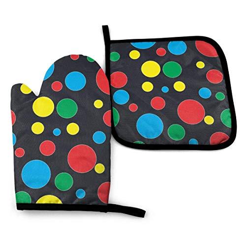 Twister Polka Dots Juego de Manoplas para Horno y Soportes para ollas Tapetes para mostrador de Cocina Manoplas para Horno Resistentes al Calor Parrilla (Juego de 2 Piezas)