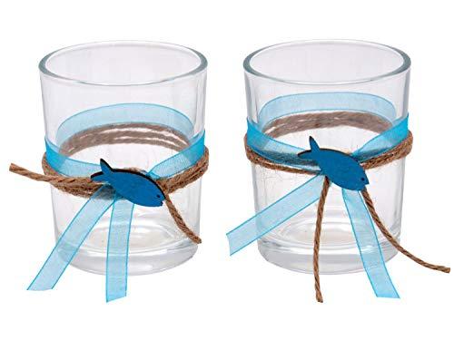 ZauberDeko 2X Teelichtglas Kommunion Konfirmation Tischdeko Petrol Fisch Vintage Isaak