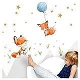 Little Deco DL360 Autocollant pour chambre d'enfant chambre de bébé garçon 2 renards, ballon gonflable, tatouage mural animaux décoration