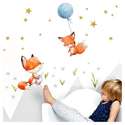 Little Deco Adhesivo decorativo para habitación infantil con 2 zorros I M – 92 x 102 cm (ancho x alto), diseño de zorro con globo de zorro y animales para habitación infantil DL360