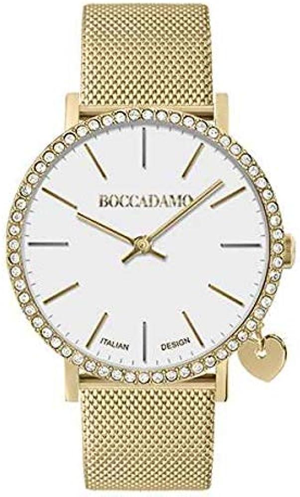Boccadamo,orologio per donna,in acciaio e cassa dorata ricoperta di swarovski,con ciondolo di lato My021