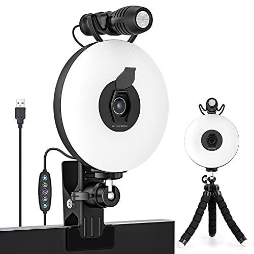 CoMokin 1080P Webcam mit Mikrofon und Ringlicht, Autofokus, 6-Stufig Einstellbare Helligkeit, mit Stativ für Online Lernen, Zoom Meeting Skype Teams, Live, PC Laptop Desktop Computer