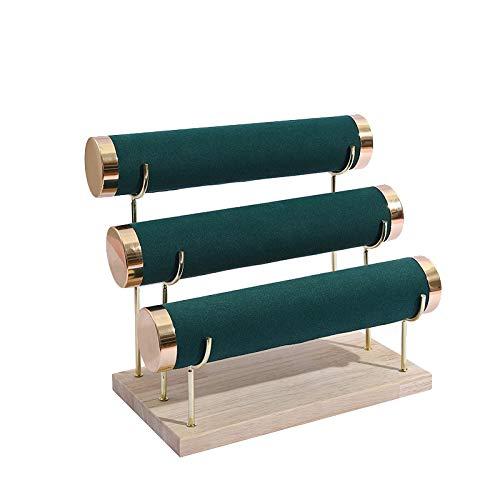 CareMont Estante de Almacenamiento de Reloj de 3 Capas de Oro con Fondo de Madera, Pulsera, Estante de ExhibicióN de Pulsera, Estante de ExhibicióN de Pulsera de Joya Verde