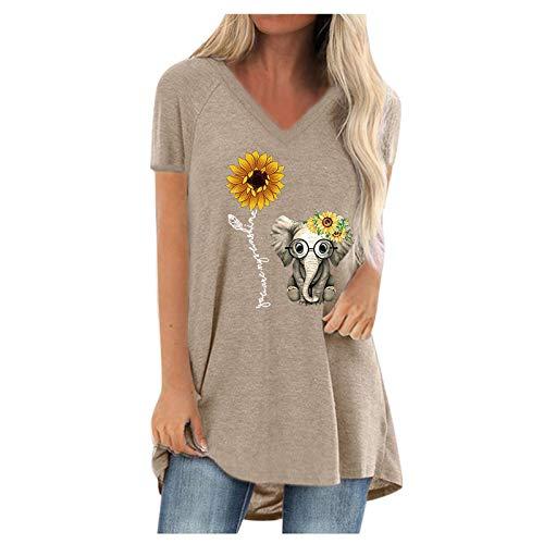 Dosoop Oversized Tunics Women V Neck Short Sleeved Cute Elephant Sunflower Print Long T-Shirt Plus Size Blouse Tops
