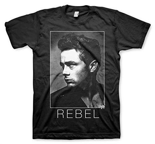 James Dean Oficialmente Licenciado BW Rebel Camiseta para Hombre (Negro), Large
