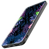 TheSmartGuard Powerbank Batterie Externe 6000 mAh avec Port USB-C pour iPhone XS/XR/X Samsung S10/S9/S8 Note 9 Huawei P30 et Beaucoup Plus | Fleurs Noir/Bleu/Violet/Rose
