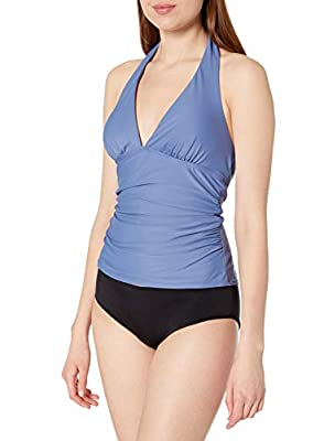 Tommy Hilfiger Women's Tankini Swimsuit Top, Harbor Blue Solid, X-Large