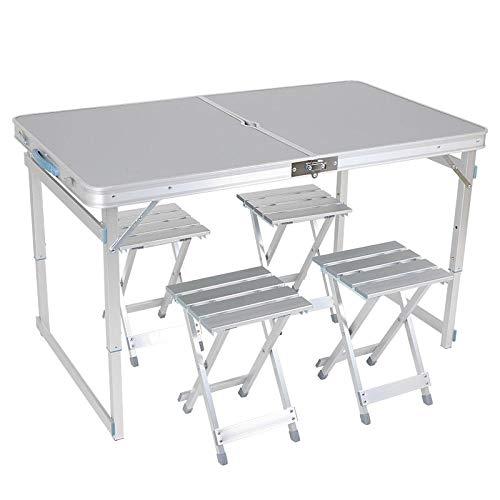 YSYSZYN - Mesa de camping con sillas plegable, altura regulable con 4 sillas, con bolsa de transporte, mesa plegable de aluminio, 120 x 70 x 50 cm, mesa de fiesta
