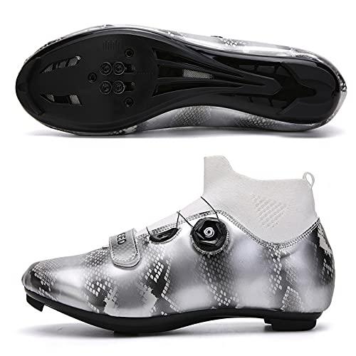 Zapatillas de Ciclismo para Hombre, Zapatillas de Ciclismo de Carretera para Hombre, Zapatillas de Bicicleta de Carretera Antideslizantes y Transpirables, Zapatillas de Spinning,Blanco,EU47 UK10