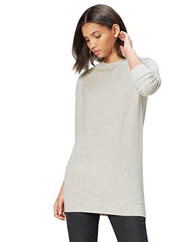 find. Damen Kleid Baumwoll-Jersey mit langer Silhouette, Grau (Light Grey Marl), 36...