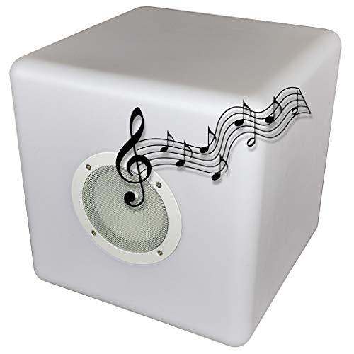 Deco4Me - Cubo luminoso a LED, 30 x 30 x 30 cm, con altoparlante, soundbar, Bluetooth, da giardino