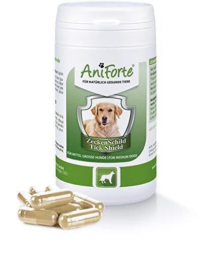 AniForte Zeckenschutz für Hunde (Mittelgroß 10-35 kg) 60 Kapseln - Natürlicher Zeckenschild durch Hautbarriere, Antizeckenmittel bei Parasiten, Vorbeugung Zeckenbiss, Zeckentabletten zur Zeckenabwehr
