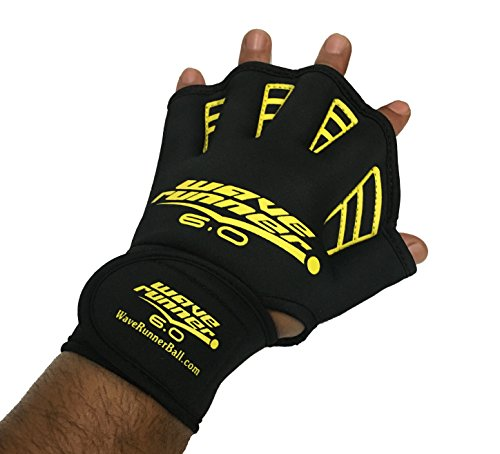 Wave Runner 6.0 Aquatic Gloves Great for Waterproof for Swimming and Workouts (Black, Medium)