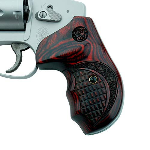 Altamont - S&W J Round Revolver Grips - Bateleur - Real Wood Gun Grips fit Smith & Wesson J Frame Round Butt .38 Special and 9mm Revolvers - Made in USA - Rosewood - Crocback w. S&W Logo