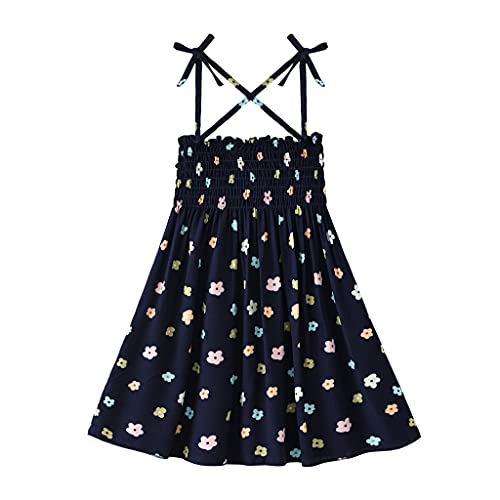 Toddler Girl Dress Infant Floral Sling Dress Newborn Baby Girl Sleeveless Ballet Skirt A-Line Princess Tutu Dress Kid High Waist Stretchy Lace-up DressClothes Outfit (Navy Blue, 5-6 Years)