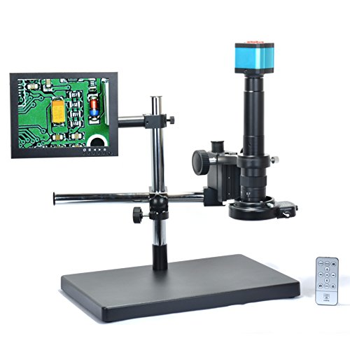 HAYEAR 14MP HDMI HD USB Digital Industry Video Microscope Camera Set+Big Boom Stand Universal Bracket +300X C-Mount Lens+144 LED Light + 8' inch HDMI LCD Monitor (300X Zoon Lens)