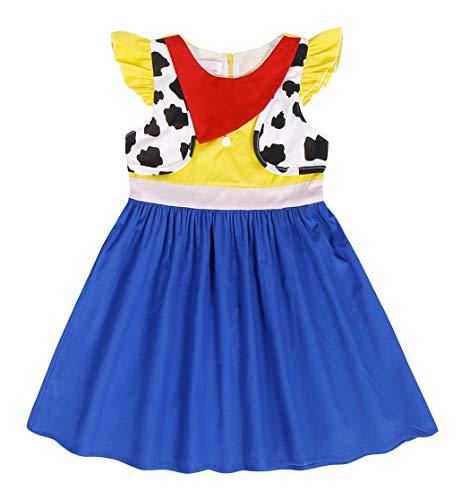 AmzBarley Mädchen Kostüm Jessie Kleid Toy Story Jessie Costume Cowgirl Kostüm Cosplay Schick Party Ankleiden Geburtstag Karneval Halloween Kleidung
