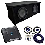 Compatible with 2007-UP Jeep Wrangler 2 Door Dual 10' Enclosure Alpine Type R R-W10D2 Sub Box Package with R-A75M Amplifier & 0GA Amp Kit