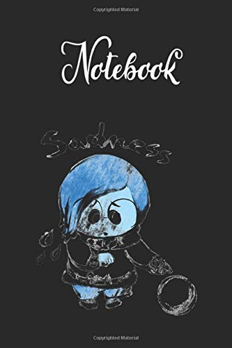Notebook: Disney Pixar Inside Out Sadness Watercolor Graphic Lined Pages Notebook White Paper Blank Journal with Black Cover Size Medium 6in x 9in for Kids or Men & Women Adventure
