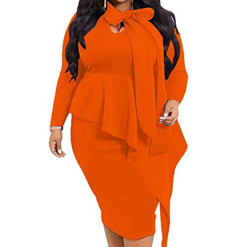 3CHP8HYB Herbst Und Winter Damen Plus Size Kleid Bowknot Langarm Kleid Frauen