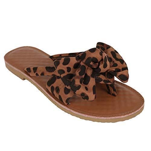 FISACE Womens Summer Bow Tie Flip Flops Flat Sandals Anti-Slip Summer Beach Thong Slipper (8 M US, Leopard)