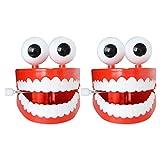 TOYANDONA 2 juguetes de cuerda para niños con dientes para tirar de la figura de cuerda, modelo de dientes, artículo de broma para regalo de cumpleaños de bebé