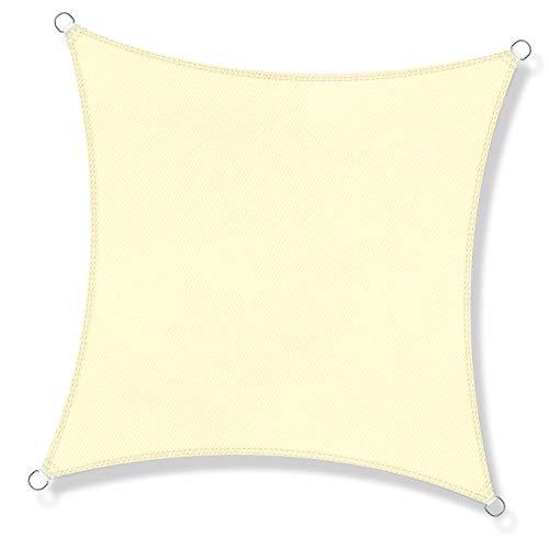 JYYnet Toldo Vela de Sombra, Cuadrado 2×2m Toldo Vela de Sombra Prevención Rayos UV Poliéster Toldo para Terraza Exterior Jardín (2×2m, Blanco Crema)