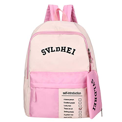 SicongHT Women Backpack Campus School Student Bag Casual Nylon Rucksack Letter Print Satchel with Pen Pencil Case(Pink)