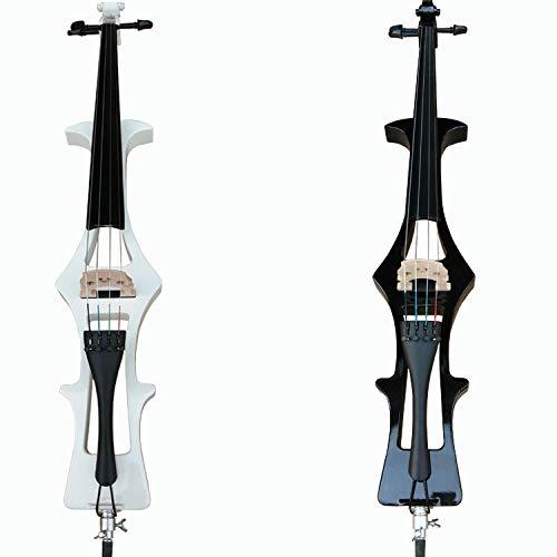 LOIKHGV Handarbeit elektronisches Cello 4/4 massivholz schwarz Blitz Lange Klammer elektroakustische Cello bühnenperformance Musikinstrument, weiß