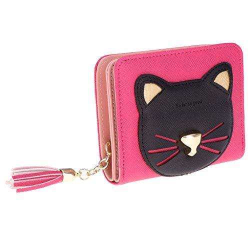 Bonarty Mignon Chat Animal En Cuir PU Mince Mini Portefeuille Femmes D'embrayage - Rose Rouge, comme décrit