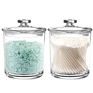 Youngever 2 Pack 450ml Clear Plastic Apothecary Jars, Qtip Holder, Cotton Swab Holder, Bathroom Vanity Organizer for Cotton Balls, Cotton Swab, Qtips